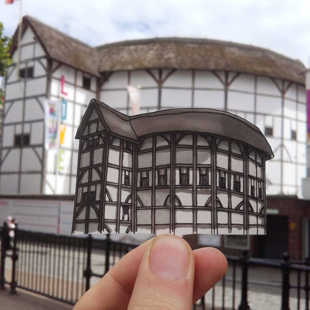 Shakespeare's-Globe-Theatre-Southwark-London-çizim